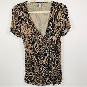 Dana Buchman Leopard Print Blouse Medium